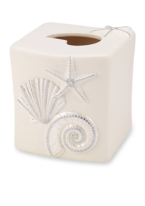 Avanti Sequin Shells Tissue Box Holder 5.5-in. X