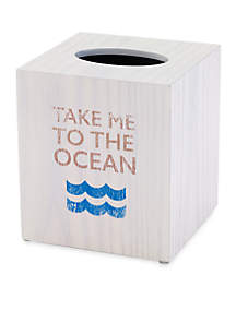 Beach Words Tissue Cover 5.37-in. x 5.37-in. x 6-in.