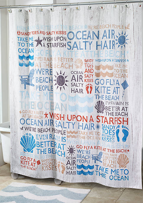 Avanti Beach Words Shower Curtain 72-in. x 72-in.