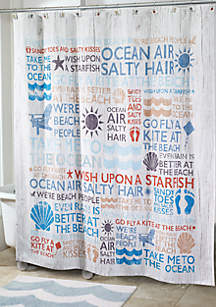 Beach Words Shower Curtain and Shower Hooks