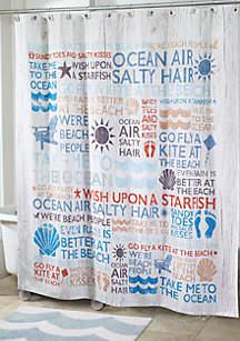 Beach Words Shower Curtain 72-in. x 72-in.