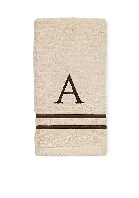 Avanti Premier Ivory and Brown Monogram Hand Towel