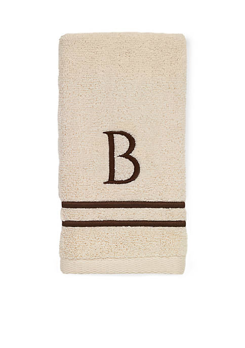 Avanti Premier Ivory and Brown Monogram Hand Towel