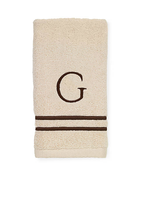Avanti Premier Ivory and Brown Monogram Bath Towel