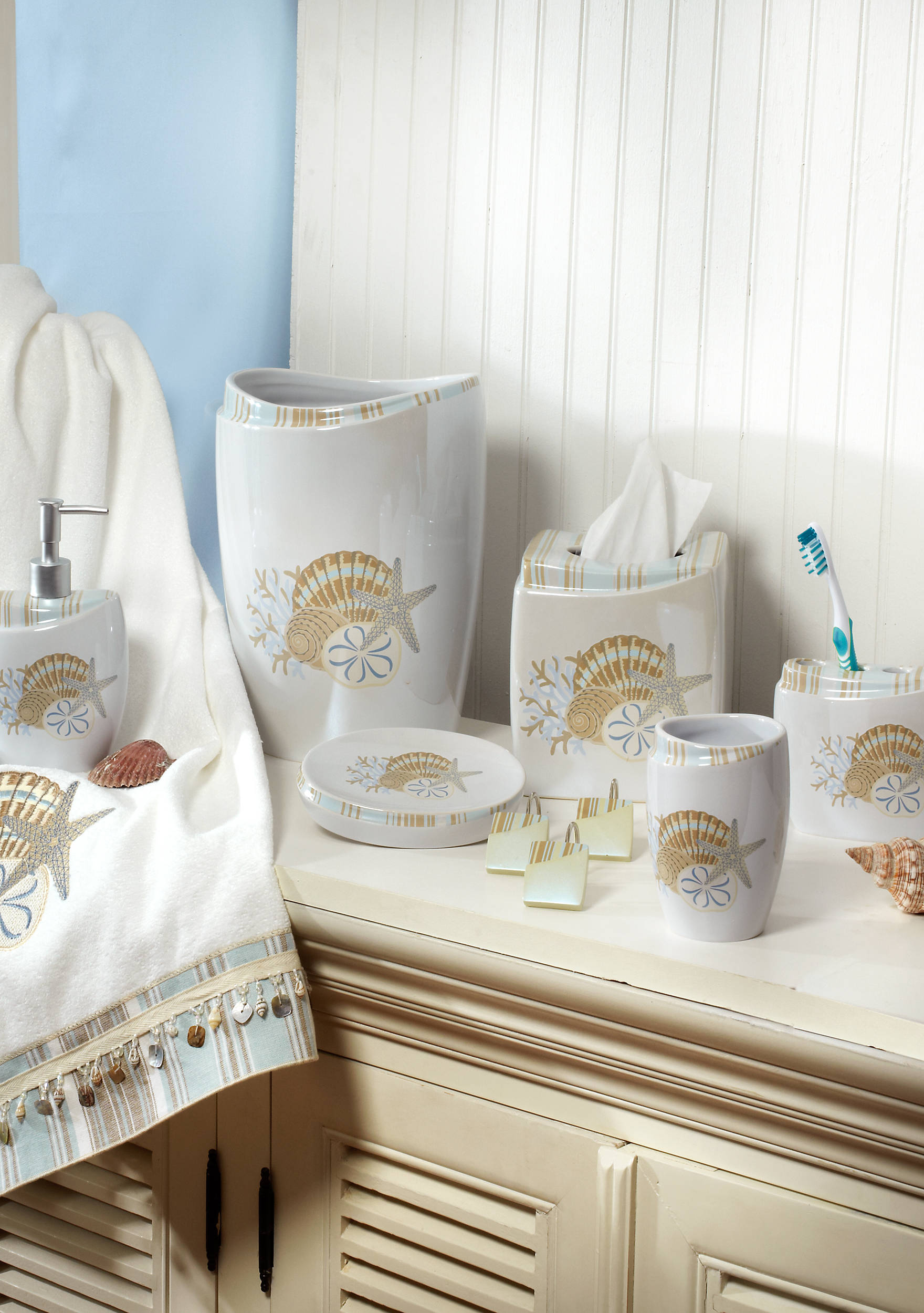 Avanti By The Sea Collection Bath Accessories, Shower Curtain, and ...