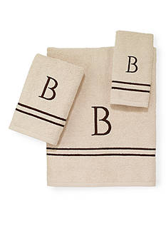 Avanti Premier Ivory and Brown Monogram Towel Collection