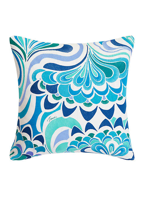 Trina Turk Avalon Lotus Embroidery Throw Pillow