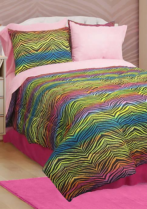 Rainbow Zebra Queen Comforter Set