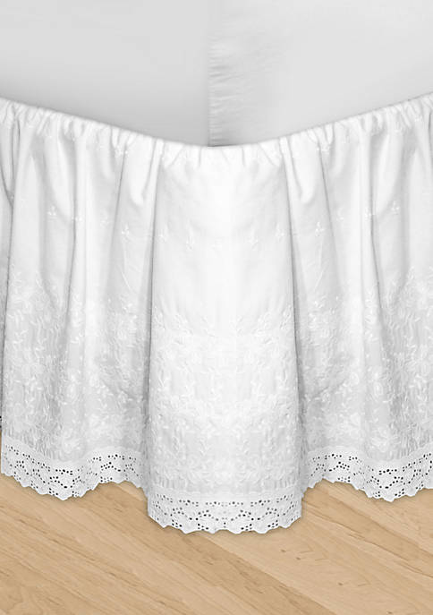 HUYS Adjustable Embroidered California King Bedskirt 84-in. x 72-in. + 16-in. - 17-in. drop