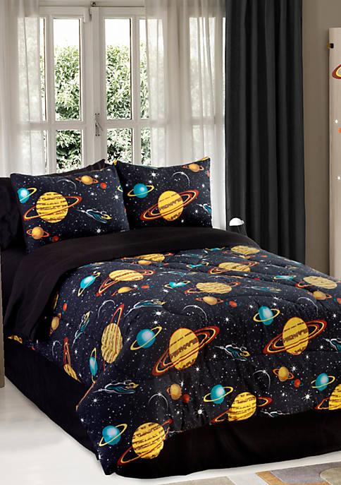 Glow in the Dark Rocket Star Twin Comforter Set