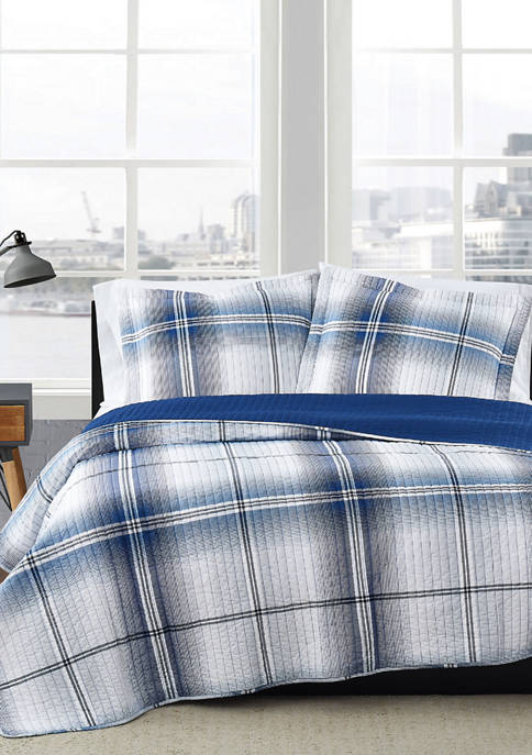 London Fog® Nolan Houndstooth Stripe Quilt Set