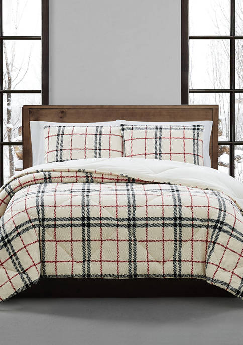 London Fog® Popcorn Plaid Comforter Set