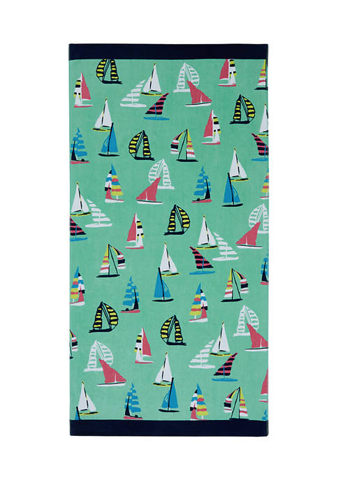 Sailboat Print Beach Towel