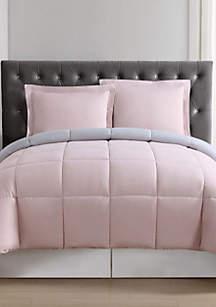 Blush and Silver Grey Reversible Comforter Set