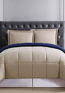 Khaki and Navy Reversible Comforter Set