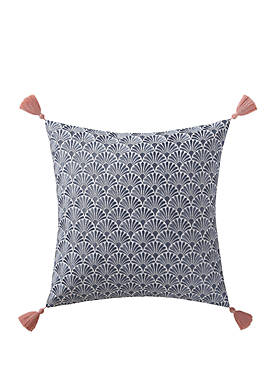 Indienne Paisley Embroidered Scallop Decorative Pillow