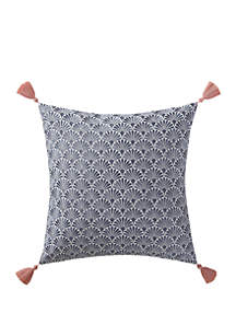 Oceanfront Resort Indienne Paisley Embroidered Scallop Decorative Pillow
