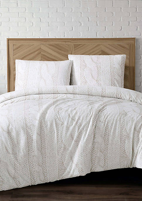 Brooklyn Loom Printed Cable Knit Fur Comforter Set