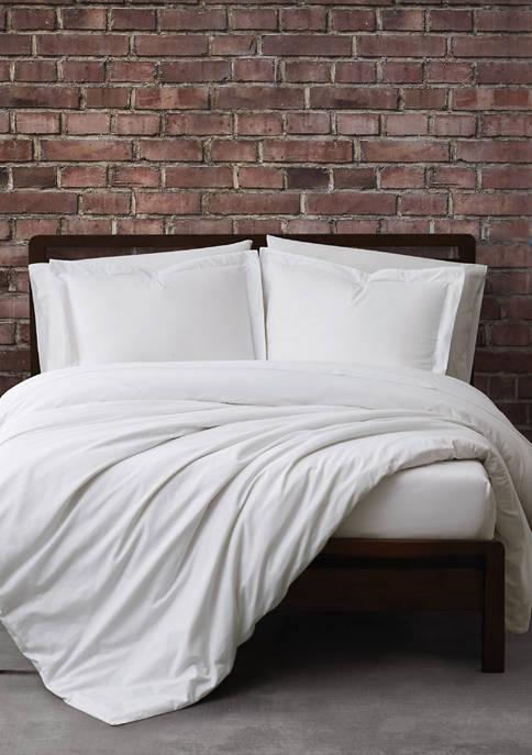 Solid Cotton Percale Duvet Set