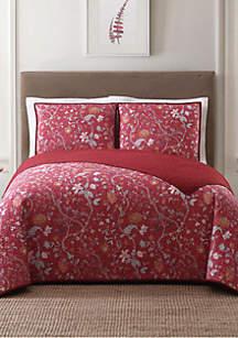 Bedford Red King Quilt Set