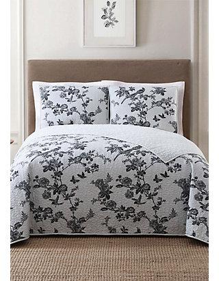 Grey /& Black KING QUILT SET Lisborn Cotton Cloth Brushed Floral
