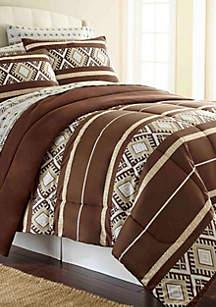 Shavel Micro Flannel Reindeer Stripe Comforter Set