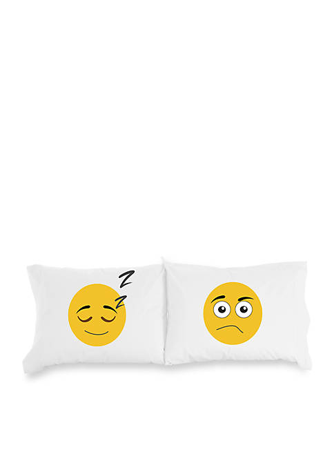 Micro Flannel Emojis Inspirational Novelty Print Pillowcase Pair