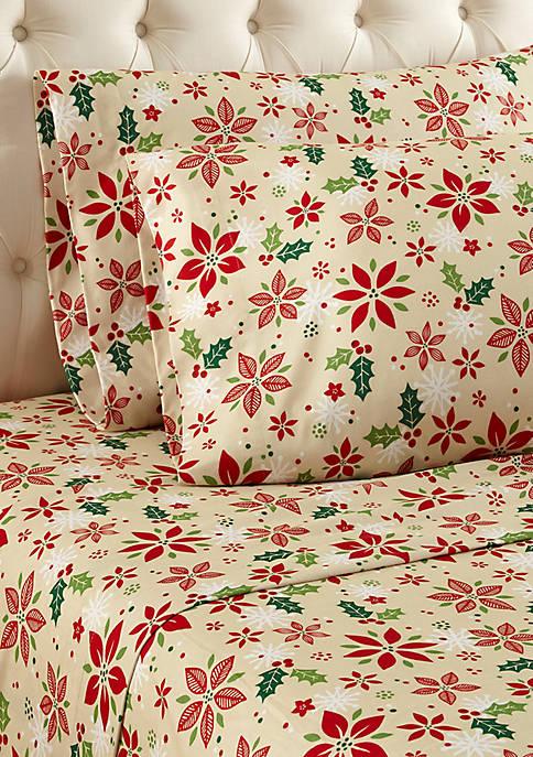 Micro Flannel Poinsettia Sheet Set