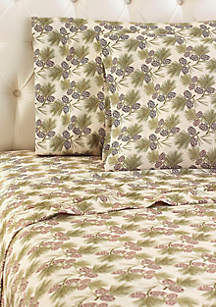 Pine Cone Micro Flannel Sheet Set