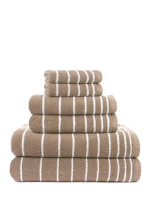 Evelyn Stripe Yarn Dyed Stripe 6 Piece Bath Towel Set