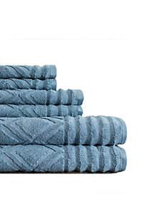 Prescott Textured Six-Piece Towel Set