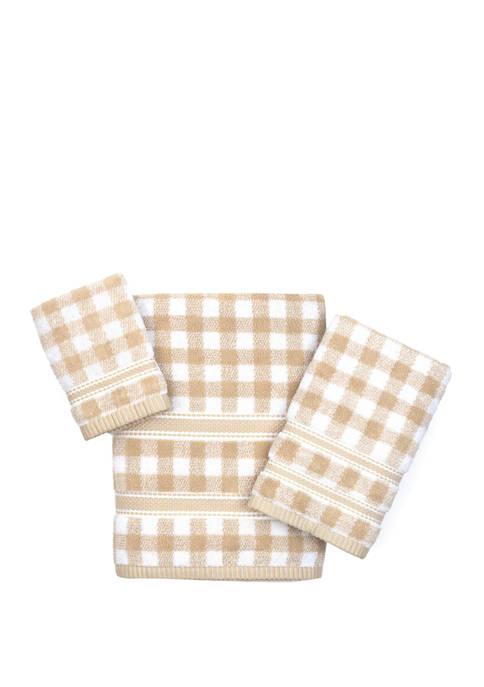 American Dawn Gingham 3-Piece Towel Set