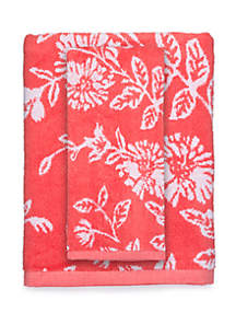 Floral Jacquard Yard Dyed Bath Towel Collection