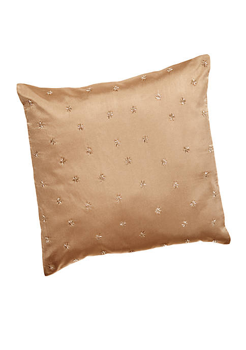 Calvin Klein Champagne Sand Beaded Stars Decorative Pillow