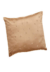 Champagne Sand Beaded Stars Decorative Pillow 18-in. x 18-in.