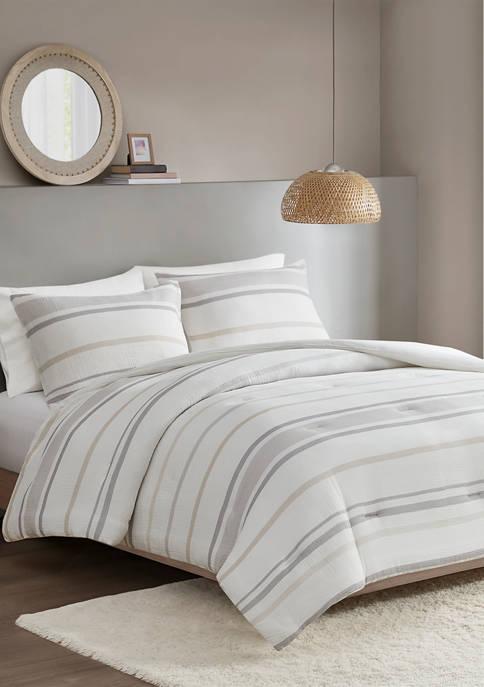3 Piece Striped Comforter Set