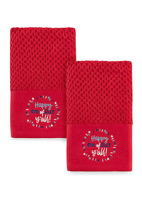 """""""Happy 4th"""" 2 Pack Hand Towels"""