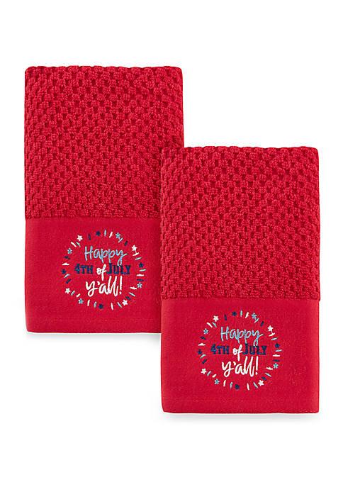 "Celebrate America ""Happy 4th"" 2 Pack Hand Towels"