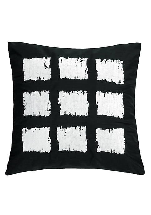 Brushstroke Black and White Square Decorative Pillow 18-in.