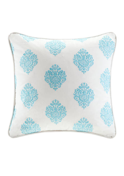 Painted Paisley Blue Printed Decorative Pillow 18-in. X 18-in.