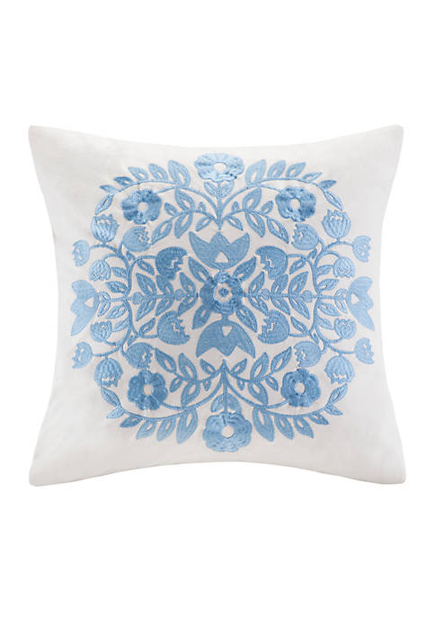 Echo Design™ Painted Paisley Blue Embroidered Decorative Pillow