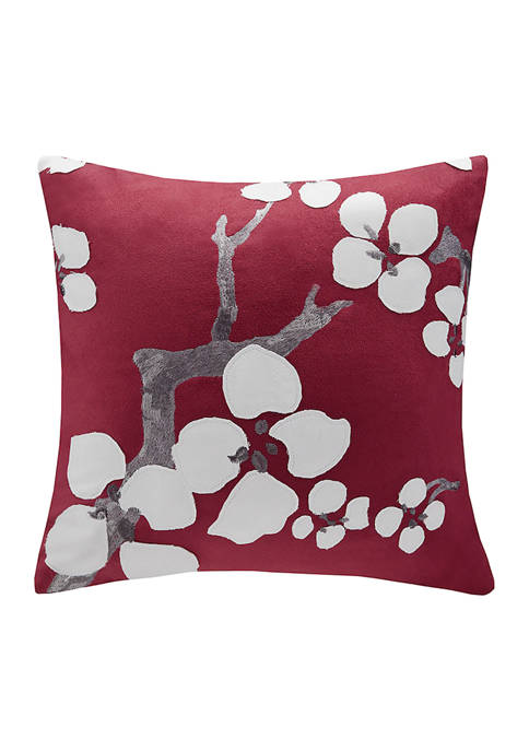 Cherry Blossom Floral Throw Pillow