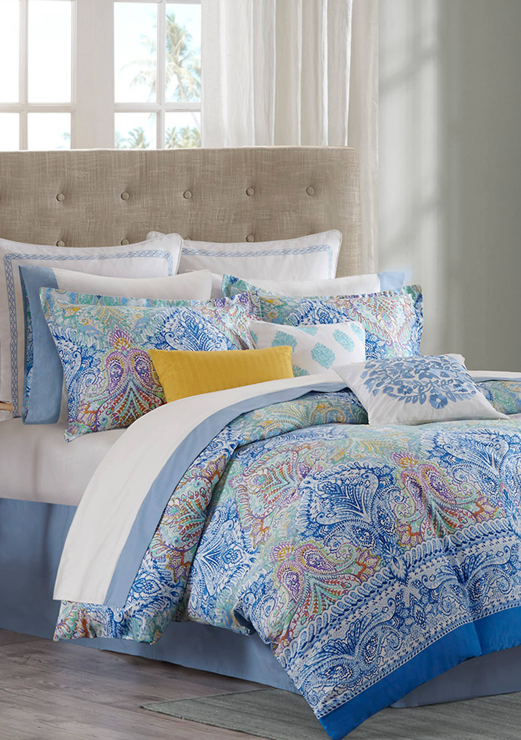 shipping cotton on bed over product blue echo design comforter bath set orders free overstock kamala bedding
