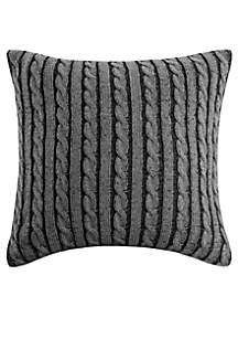 Woolrich Williamsport Gray Knit Square Pillow