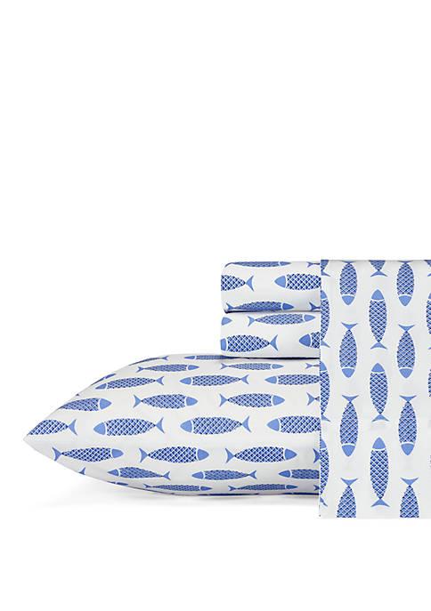 Nautica Woodblock Fish Sheet Set