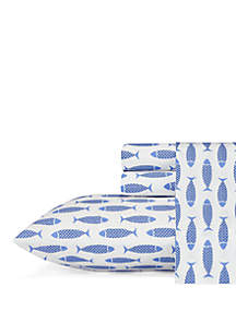 Nautica Woodblock Fish Sheet Set