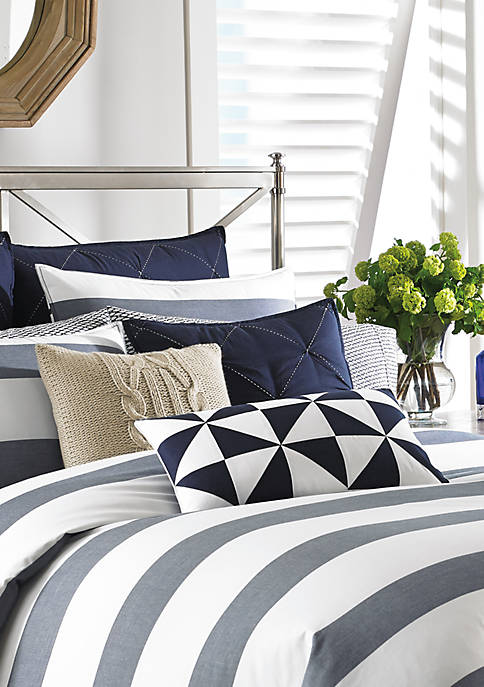 Nautica Lawndale Navy Diamond Quilted Decorative Pillow 18-in.