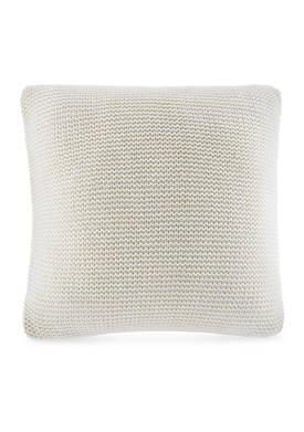 Destin White Knit Decorative Pillow 16-in. x 16-in.