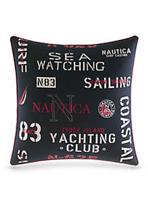 Printed Text Square Decorative Pillow
