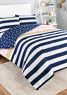 Glam Stripe Reversible Twin XL Comforter Set
